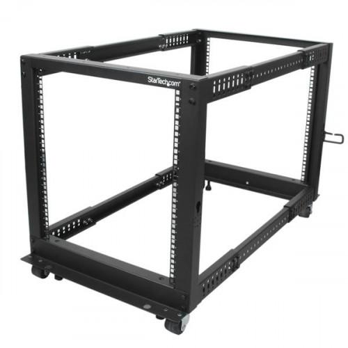 4POSTRACK12U Серверный шкаф Startech 12U Adjustable Depth Open Frame 4 Post Server Rack w/ Casters / Levelers and Cable Management Hooks