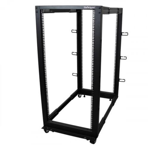 4POSTRACK25U Серверный шкаф Startech 25U Adjustable Depth Open Frame 4 Post Server Rack w/ Casters / Levelers and Cable Management Hooks