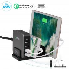 AC-PW1714-S1 Зарядная станция SIIG 5-Port Smart USB Charger plus Organizer Bundle with QC3.0 Type-C - Black
