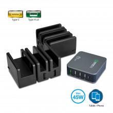 AC-PW1814-S1 Зарядная станция SIIG Multi-Flex Foldable 5-Port Charging Station with Type-C QC3.0 Outputs 45W - Black