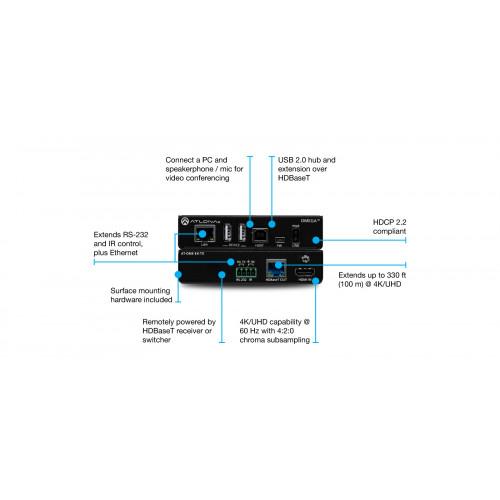 AT-OME-EX-TX передатчик видеосигнала ATLONA Omega 4K/UHD HDMI/USB over HDBaseT Transmitter (330')