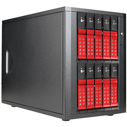 "DAGE1040DERD-PM Дисковое хранилище iStarUSA 10-Bay 3.5"" SATA 6.0 Gb/s eSATA-Port Multiplier Trayless JBOD Enclosure (Red HDD Handles)"