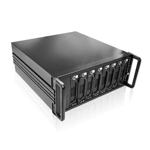 DAGE408U20T7-ES Дисковое хранилище iStarUSA 4U 8-Bay SATA eSATA JBOD 500W PSU Enclosure (Black)