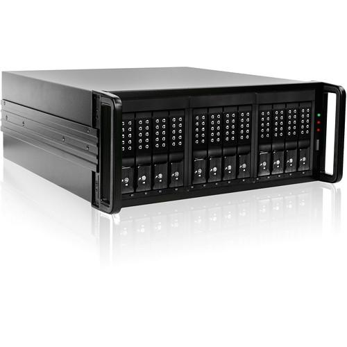 """DAGE412U40DEBK-ES Дисковое хранилище iStarUSA 4 RU 12-Bay 3.5"""" SATA 6.0 Gb/s eSATA JBOD Trayless Chassis with 500W Power Supply (Black HDD Handles)"""