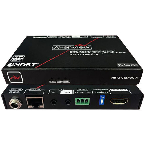 HBT2-C6BPOC-R приемник видеосигнала AVENVIEW 4K HDMI HDR HDBaseT Receiver with Bidirectional IR / RS-232 / POC (4K 60 Hz, Cat 5/6/7)