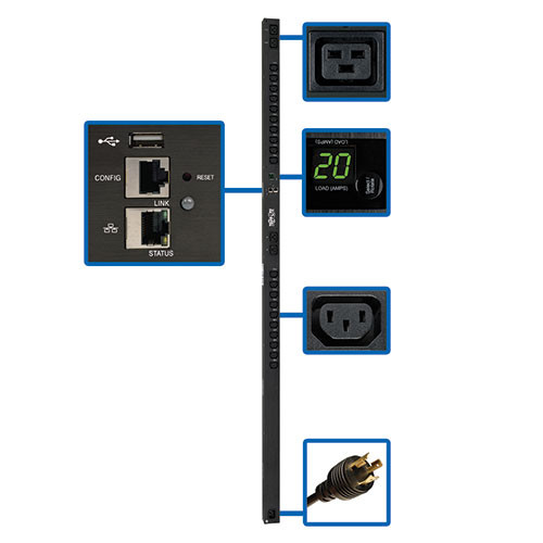 PDUMV20HVNETLX Распределитель питания Tripp Lite 3.23.8kW Single-Phase Switched PDU with LX Platform Interface, 200-240V