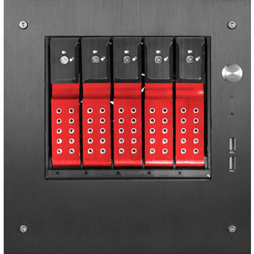 "S-35-DE5RD Дисковое хранилище iStarUSA Compact Stylish 5x 3.5"" Hotswap Trayless mini-ITX Tower (Red HDD Handles)"