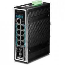 12-портовый промышленный коммутатор на DIN-рейку TRENDnet TI-PG1284I